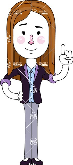 Minimalistic Business Girl Vector Character Design AKA Maryanna - Attention