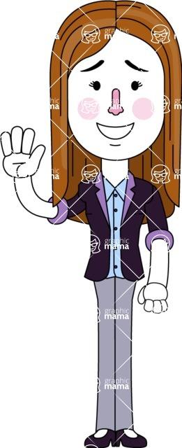 Minimalistic Business Girl Vector Character Design AKA Maryanna - Hello