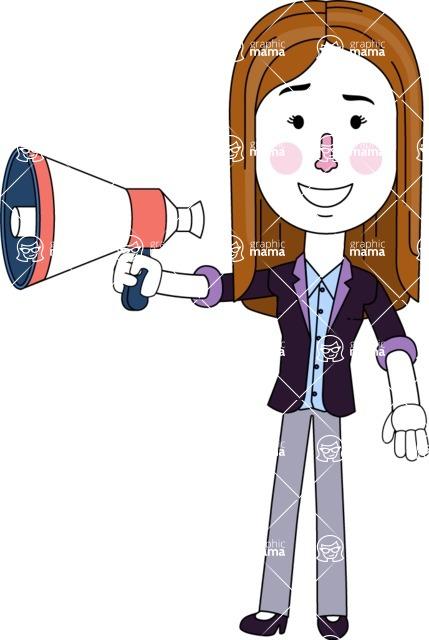 Minimalistic Business Girl Vector Character Design AKA Maryanna - Loudspeaker