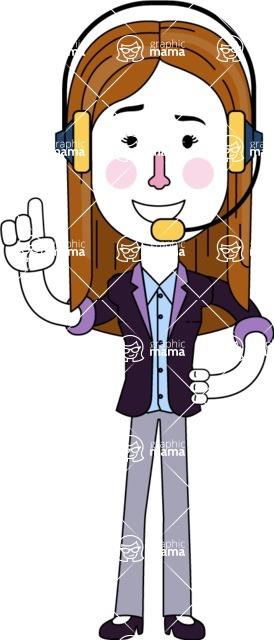 Minimalistic Business Girl Vector Character Design AKA Maryanna - Support 2