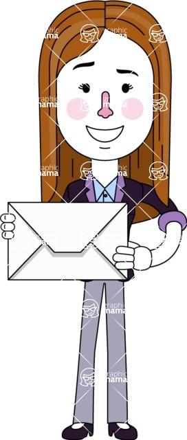 Minimalistic Business Girl Vector Character Design AKA Maryanna - Letter