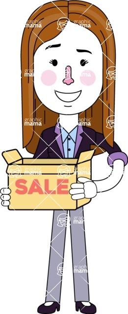 Minimalistic Business Girl Vector Character Design AKA Maryanna - Sale