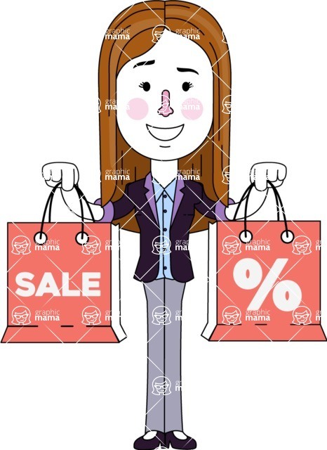 Minimalistic Business Girl Vector Character Design AKA Maryanna - Sale2