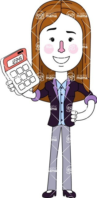 Minimalistic Business Girl Vector Character Design AKA Maryanna - Calculator