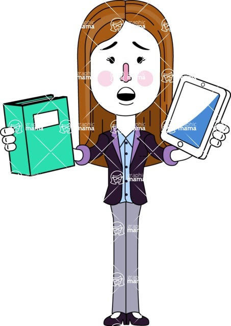 Minimalistic Business Girl Vector Character Design AKA Maryanna - Book and iPad