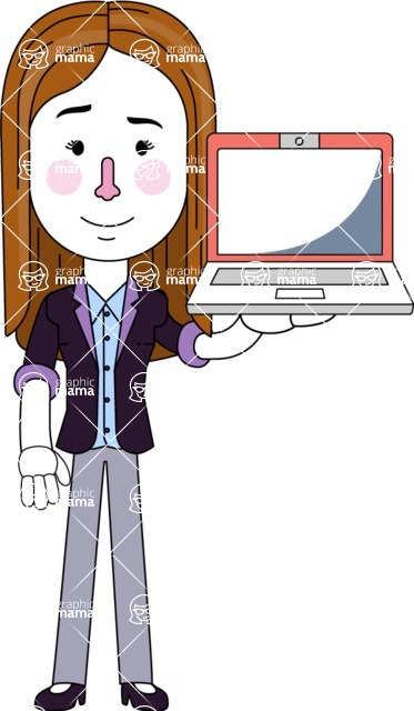 Minimalistic Business Girl Vector Character Design AKA Maryanna - Laptop 2