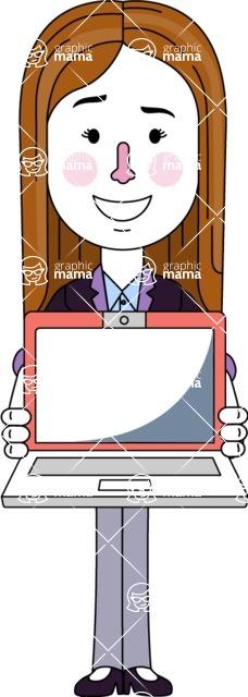 Minimalistic Business Girl Vector Character Design AKA Maryanna - Laptop 3