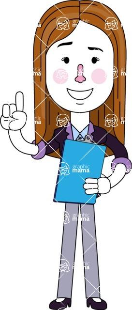 Minimalistic Business Girl Vector Character Design AKA Maryanna - Notepad 2
