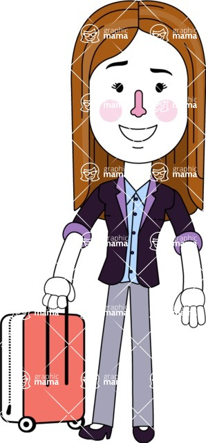 Minimalistic Business Girl Vector Character Design AKA Maryanna - Travel 1