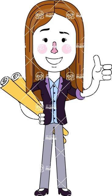 Minimalistic Business Girl Vector Character Design AKA Maryanna - Plans