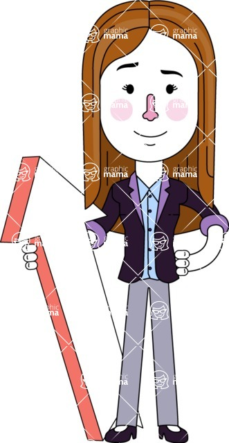 Minimalistic Business Girl Vector Character Design AKA Maryanna - Pointer 1