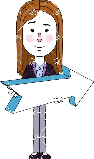Minimalistic Business Girl Vector Character Design AKA Maryanna - Pointer 2