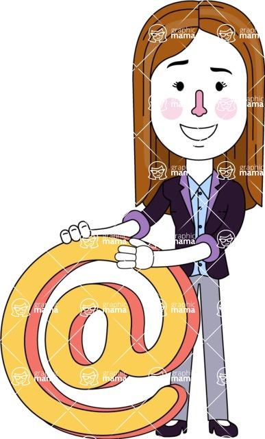 Minimalistic Business Girl Vector Character Design AKA Maryanna - Email