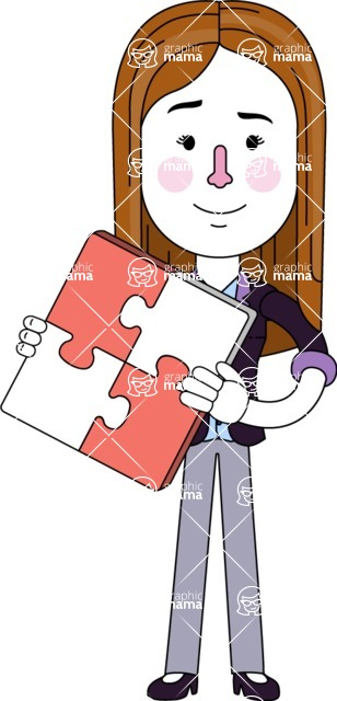 Minimalistic Business Girl Vector Character Design AKA Maryanna - Puzzle