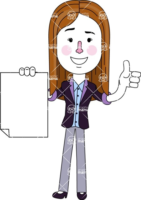 Minimalistic Business Girl Vector Character Design AKA Maryanna - Sign 2