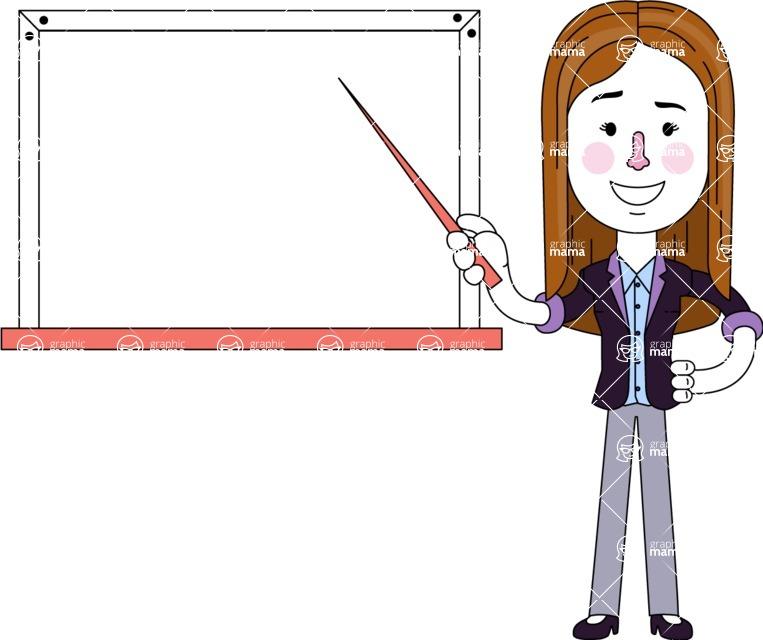 Minimalistic Business Girl Vector Character Design AKA Maryanna - Presentation 3