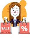 Minimalistic Business Girl Vector Character Design AKA Maryanna - Shape 6