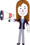 Minimalistic Business Girl Vector Character Design AKA Maryanna - Loudspeaker