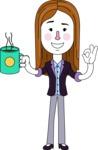 Minimalistic Business Girl Vector Character Design AKA Maryanna - Coffee