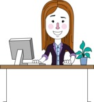 Minimalistic Business Girl Vector Character Design AKA Maryanna - Laptop 1