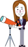 Minimalistic Business Girl Vector Character Design AKA Maryanna - Telescope