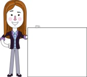Minimalistic Business Girl Vector Character Design AKA Maryanna - Sign 8