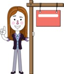Minimalistic Business Girl Vector Character Design AKA Maryanna - Sign 9