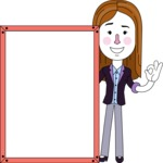 Minimalistic Business Girl Vector Character Design AKA Maryanna - Presentation 4