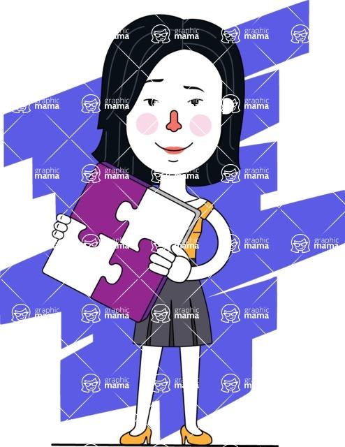 Minimalist Businesswoman Vector Character Design - Shape 7