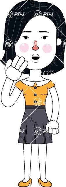 Minimalist Businesswoman Vector Character Design - Bored