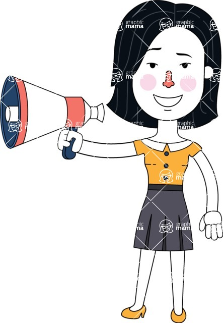 Minimalist Businesswoman Vector Character Design - Loudspeaker