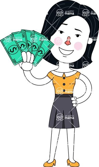 Minimalist Businesswoman Vector Character Design - Show me the Money
