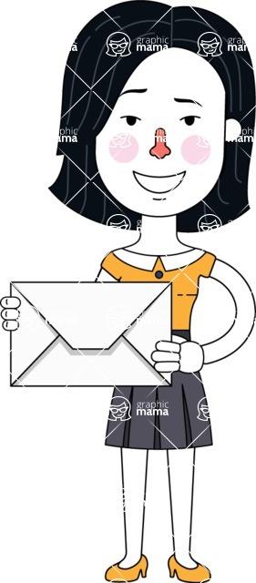 Minimalist Businesswoman Vector Character Design - Letter