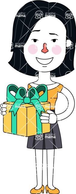 Minimalist Businesswoman Vector Character Design - Gift