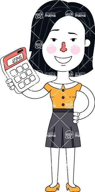 Minimalist Businesswoman Vector Character Design - Calculator