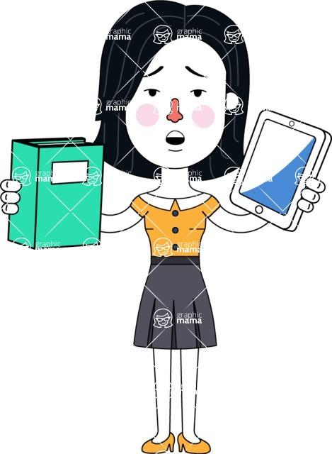 Minimalist Businesswoman Vector Character Design - Book and iPad