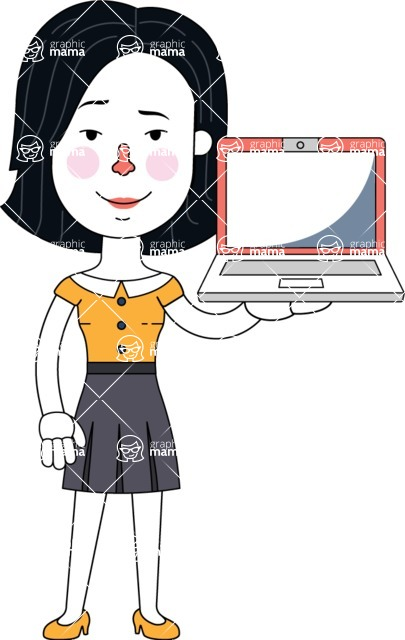 Minimalist Businesswoman Vector Character Design AKA Bethany - Laptop 2