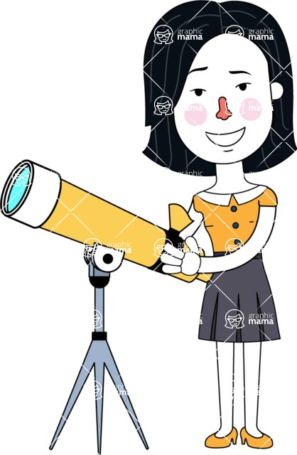 Minimalist Businesswoman Vector Character Design AKA Bethany - Telescope
