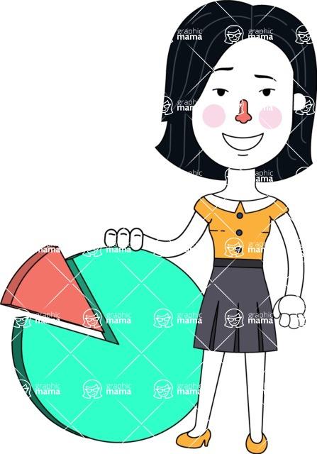 Minimalist Businesswoman Vector Character Design - Chart