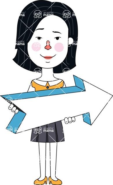 Minimalist Businesswoman Vector Character Design - Pointer 2