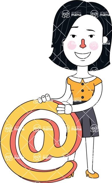Minimalist Businesswoman Vector Character Design - Email