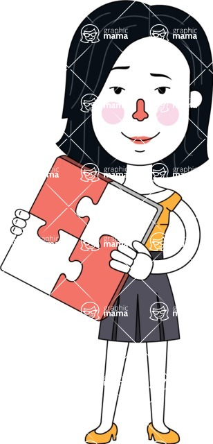 Minimalist Businesswoman Vector Character Design - Puzzle