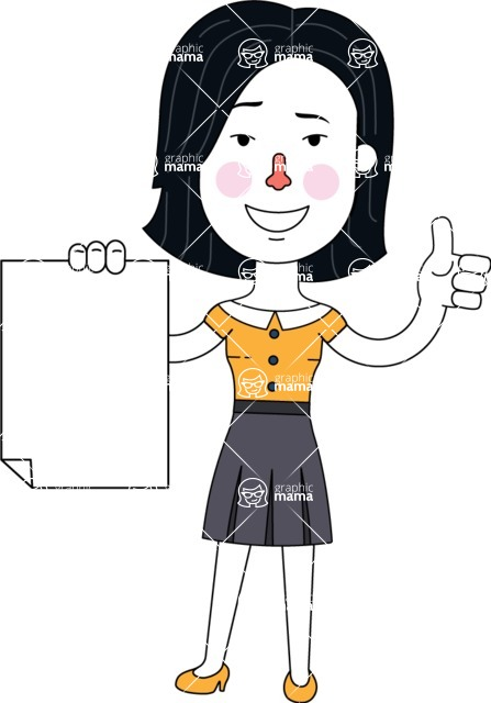 Minimalist Businesswoman Vector Character Design - Sign 2