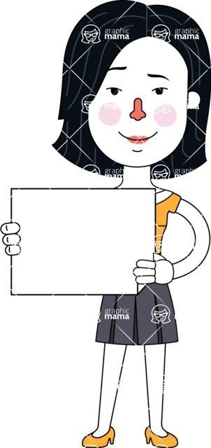 Minimalist Businesswoman Vector Character Design - Sign 3