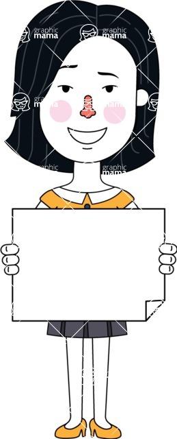 Minimalist Businesswoman Vector Character Design - Sign 4