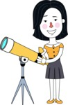 Minimalist Businesswoman Vector Character Design AKA Bethany - Telescope