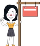 Minimalist Businesswoman Vector Character Design - Sign 9