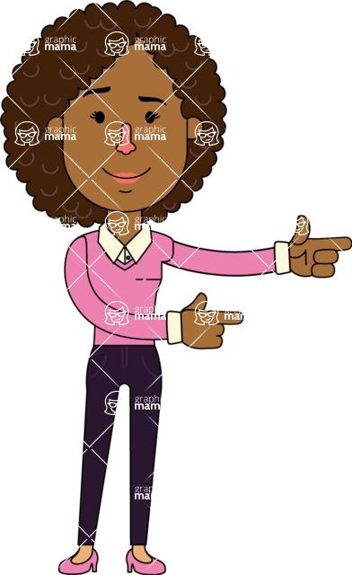Minimalistic African American Girl Vector Character Design AKA Liana - Point2