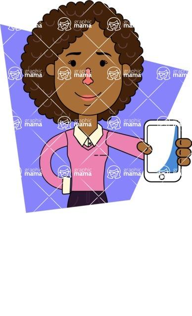 Minimalistic African American Girl Vector Character Design AKA Liana - Shape 11