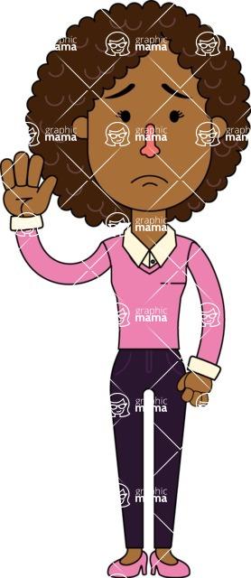 Minimalistic African American Girl Vector Character Design AKA Liana - Goodbye